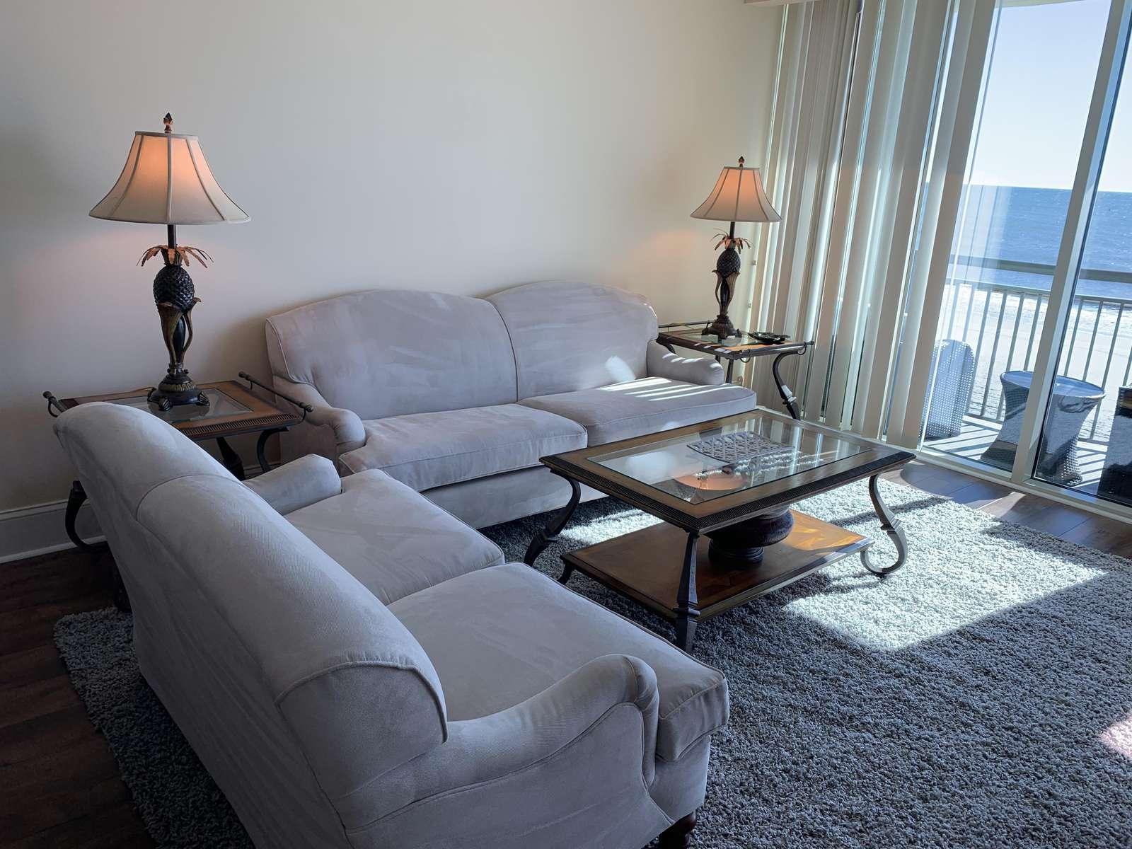 Living area, balcony access