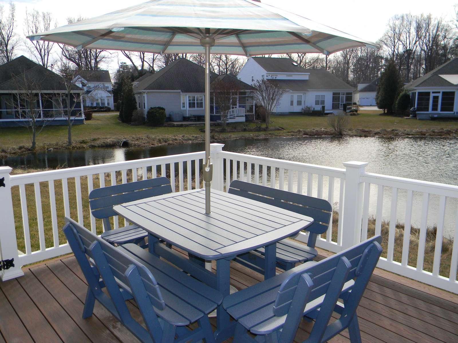 Seating on backyard deck