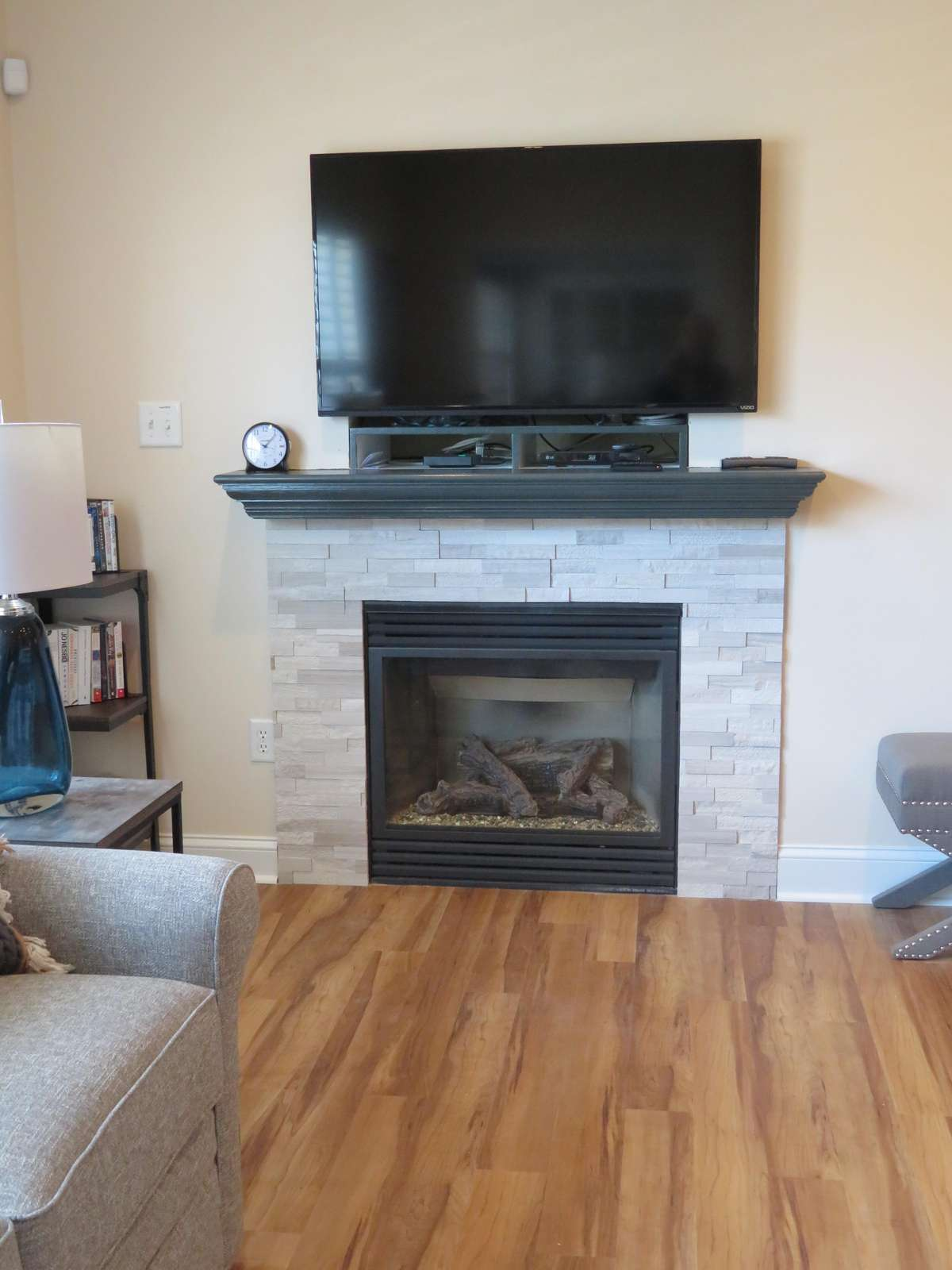Family room fireplace and television