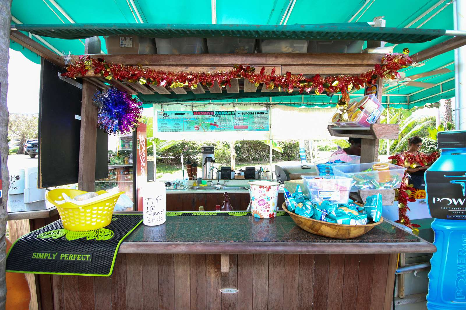 Beach Hut with drinks and snacks