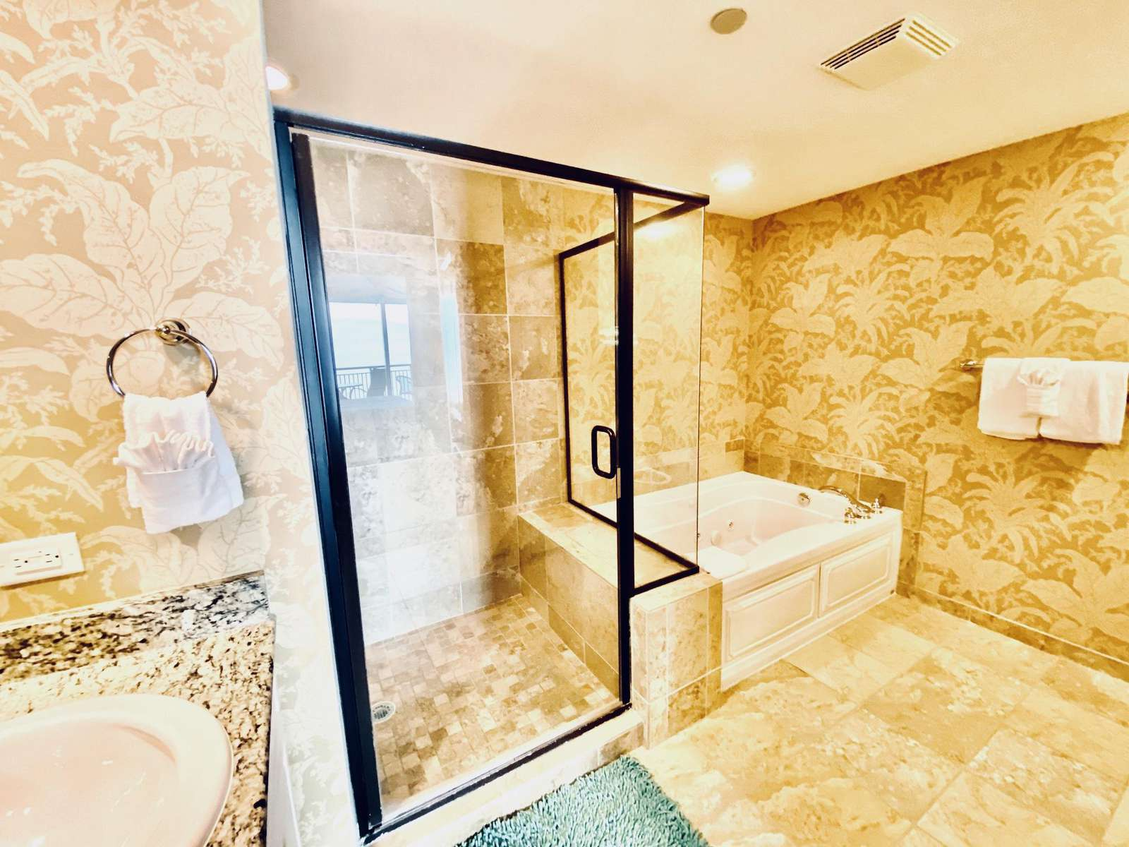 Master bath with stall shower and jetted tub