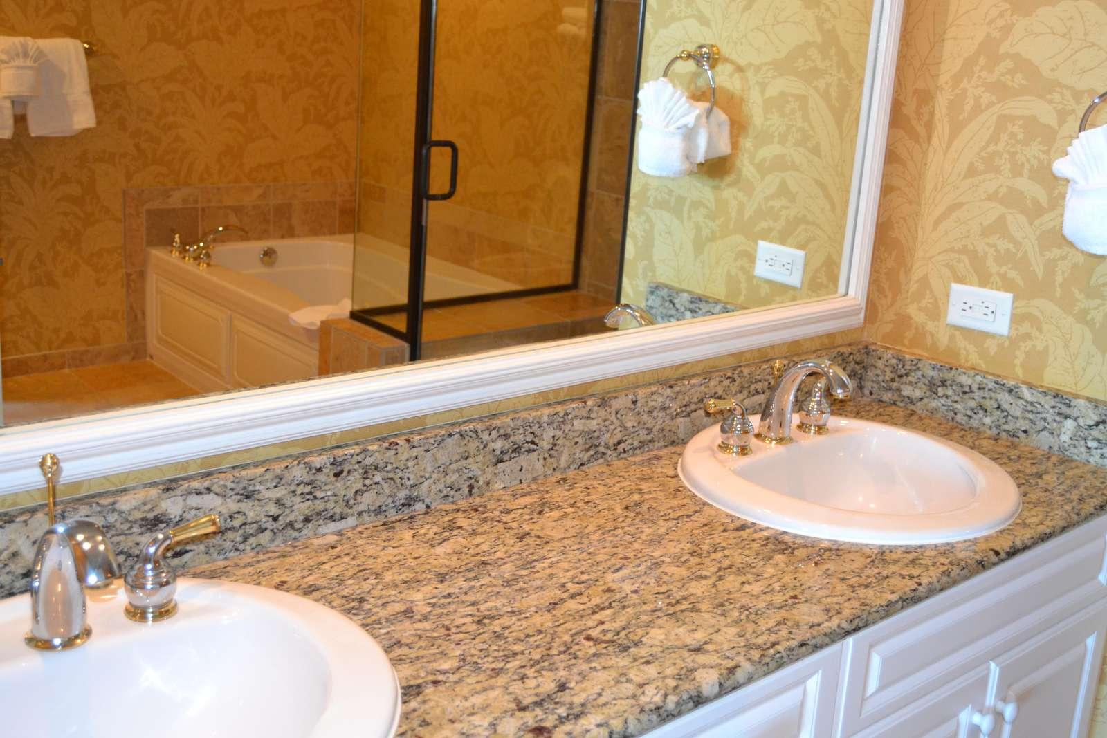 Master bath granite tops, double sinks