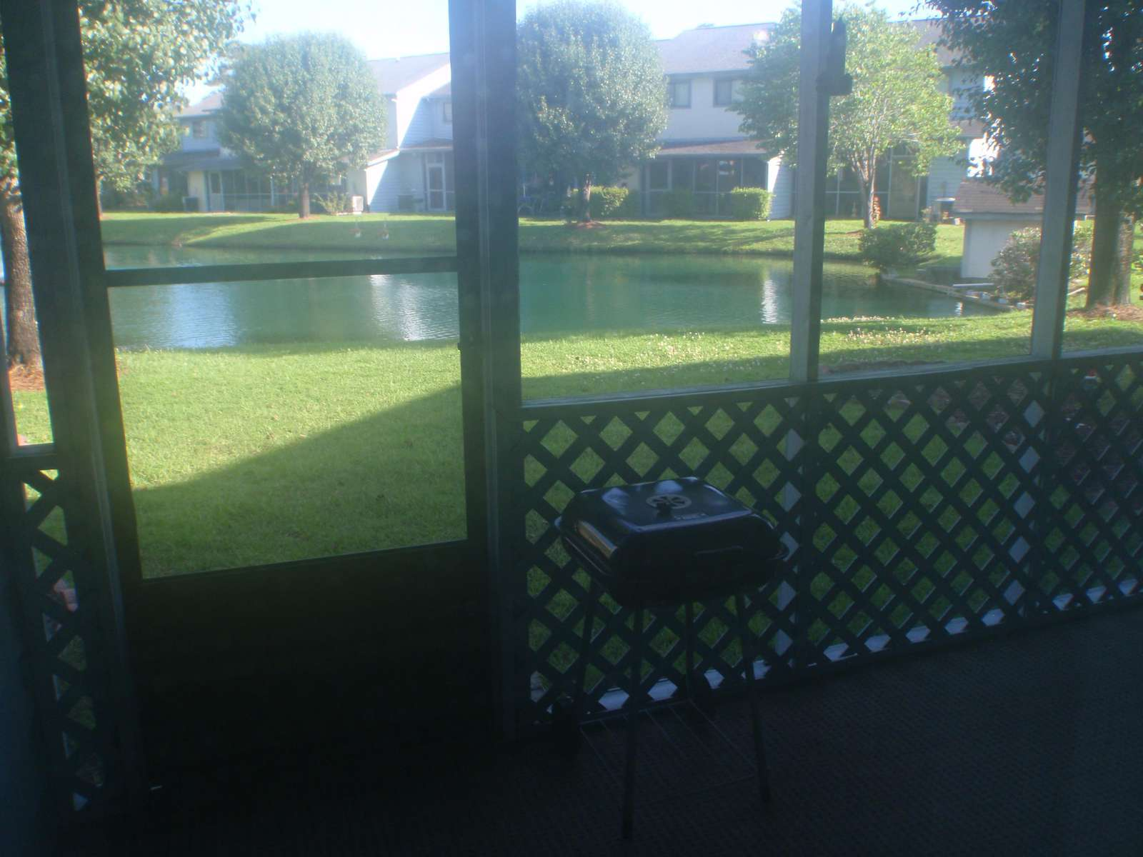 Screened in Patio with pond view