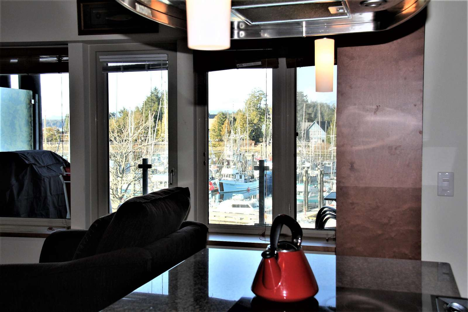 View from kitchen of the Ucluelet marina - property