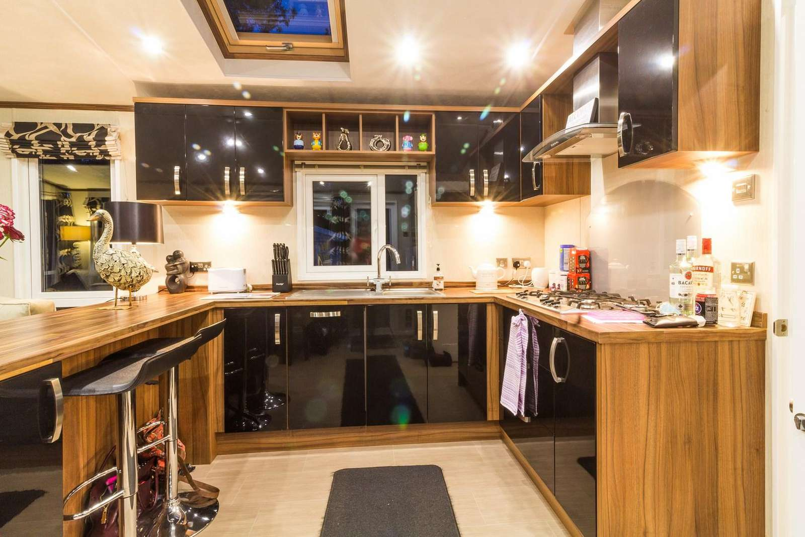 Modern and Stylish kitchen in this 6 berth luxury lodge at the Wild Duck Holiday Park.