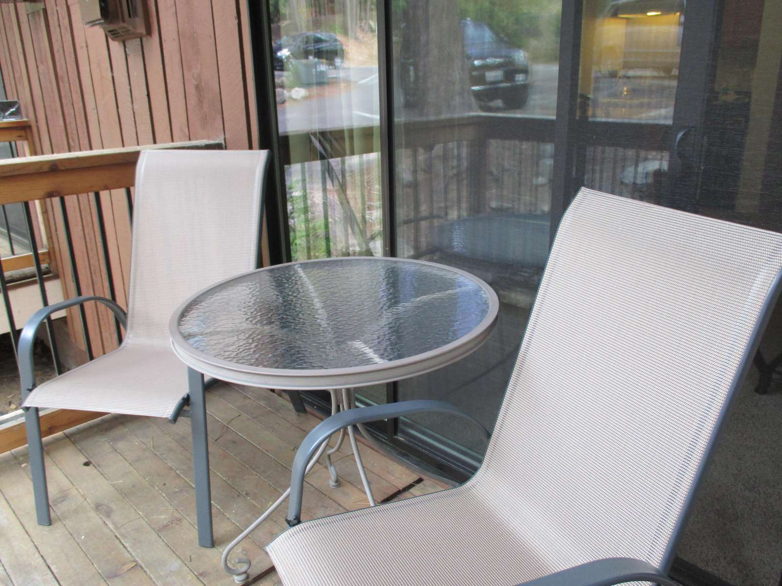 Your private deck with seating.