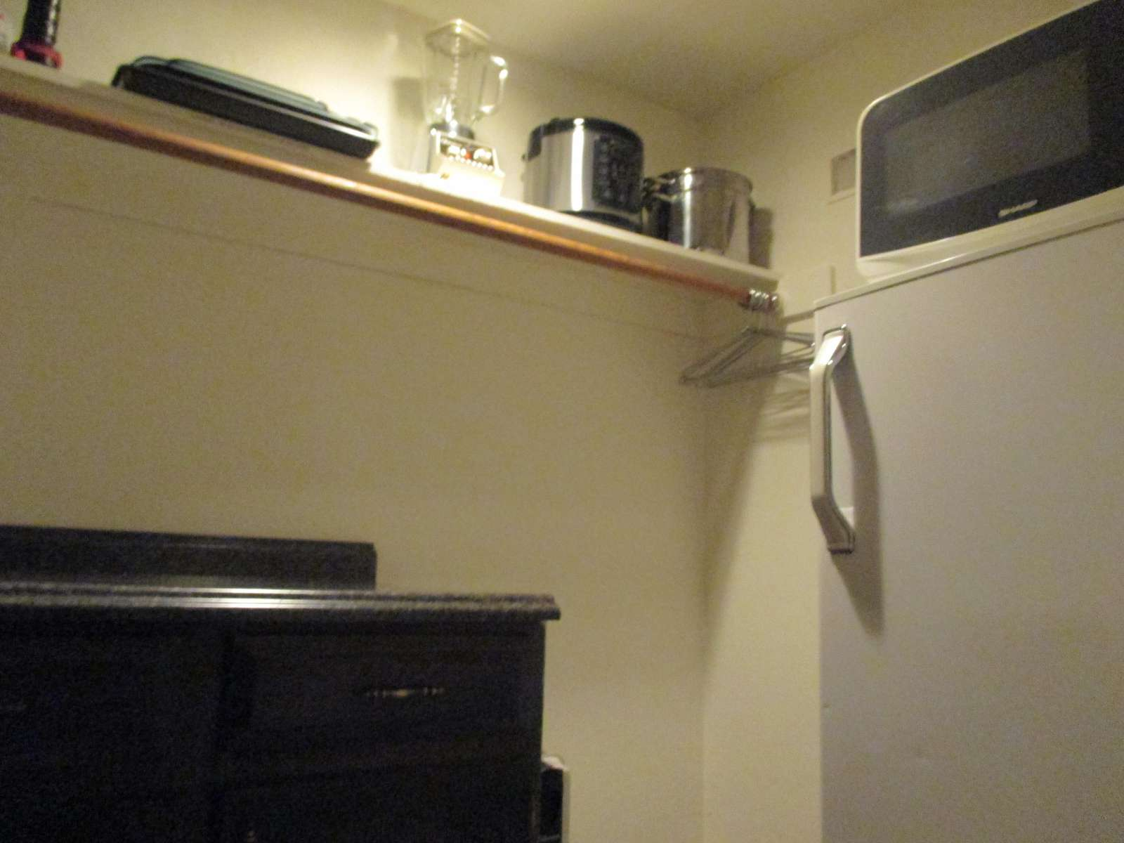 The walk-in closet behind the kitchen with refrigerator/freezer and microwave.