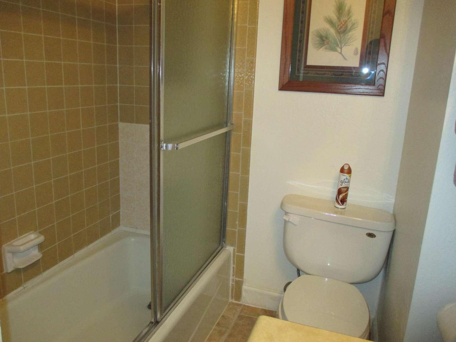 Your full bathroom has a shower/tub.