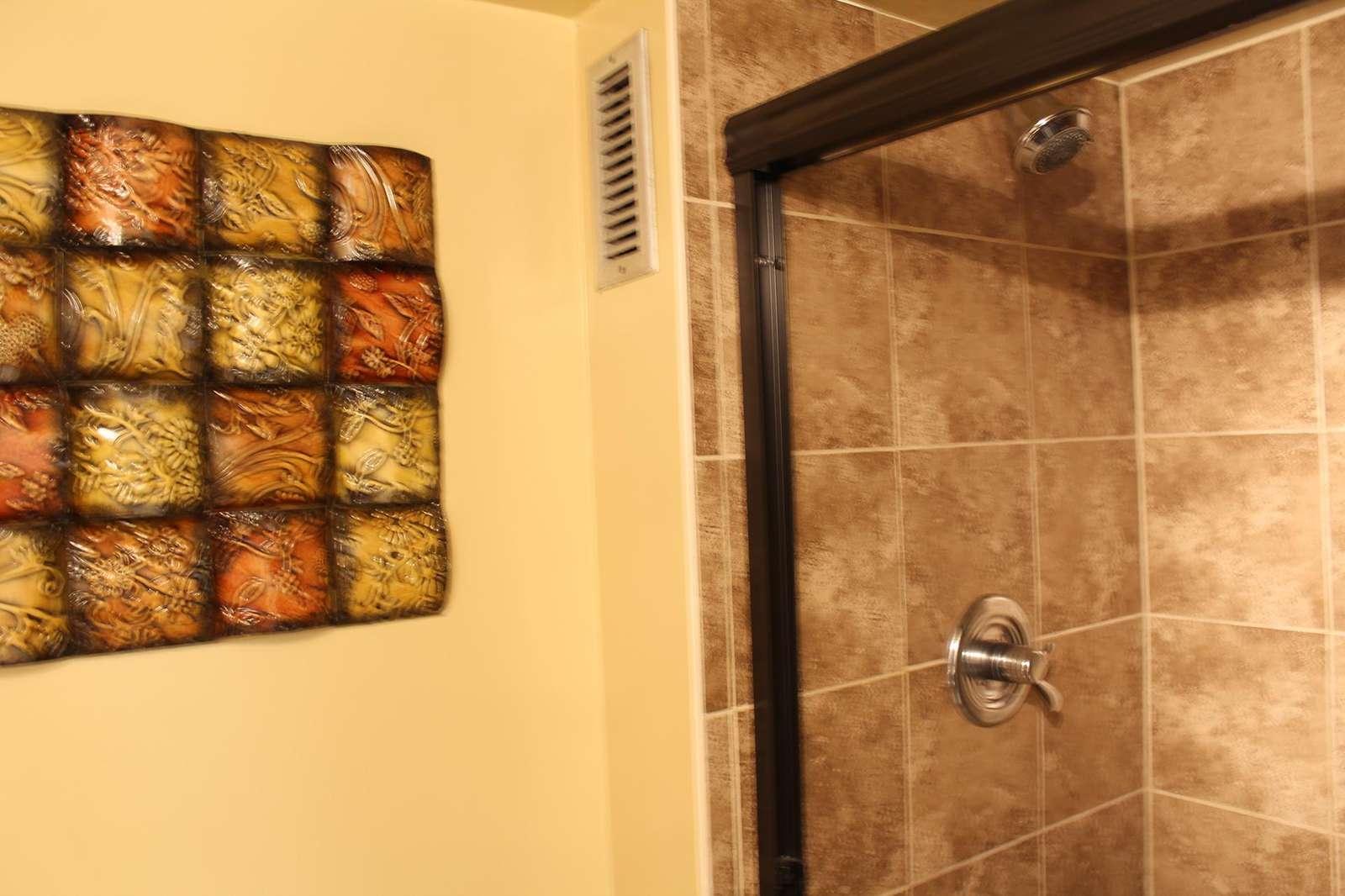 Large walk-in shower.