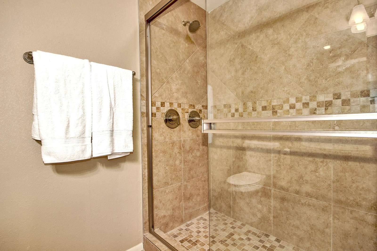 2nd Primary bathroom walk in shower with normal and rain shower.