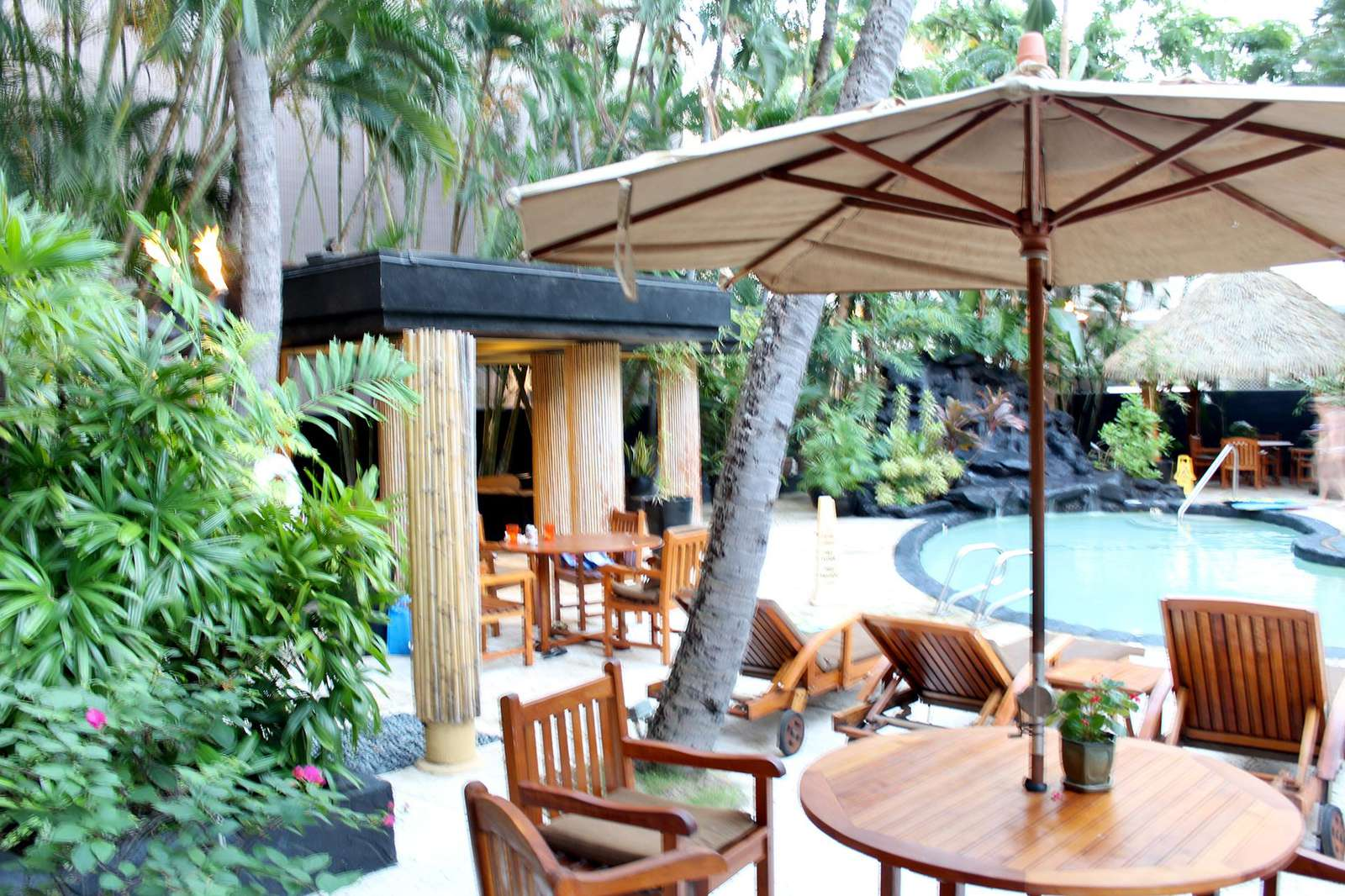 Outdoor communal sundeck around pool