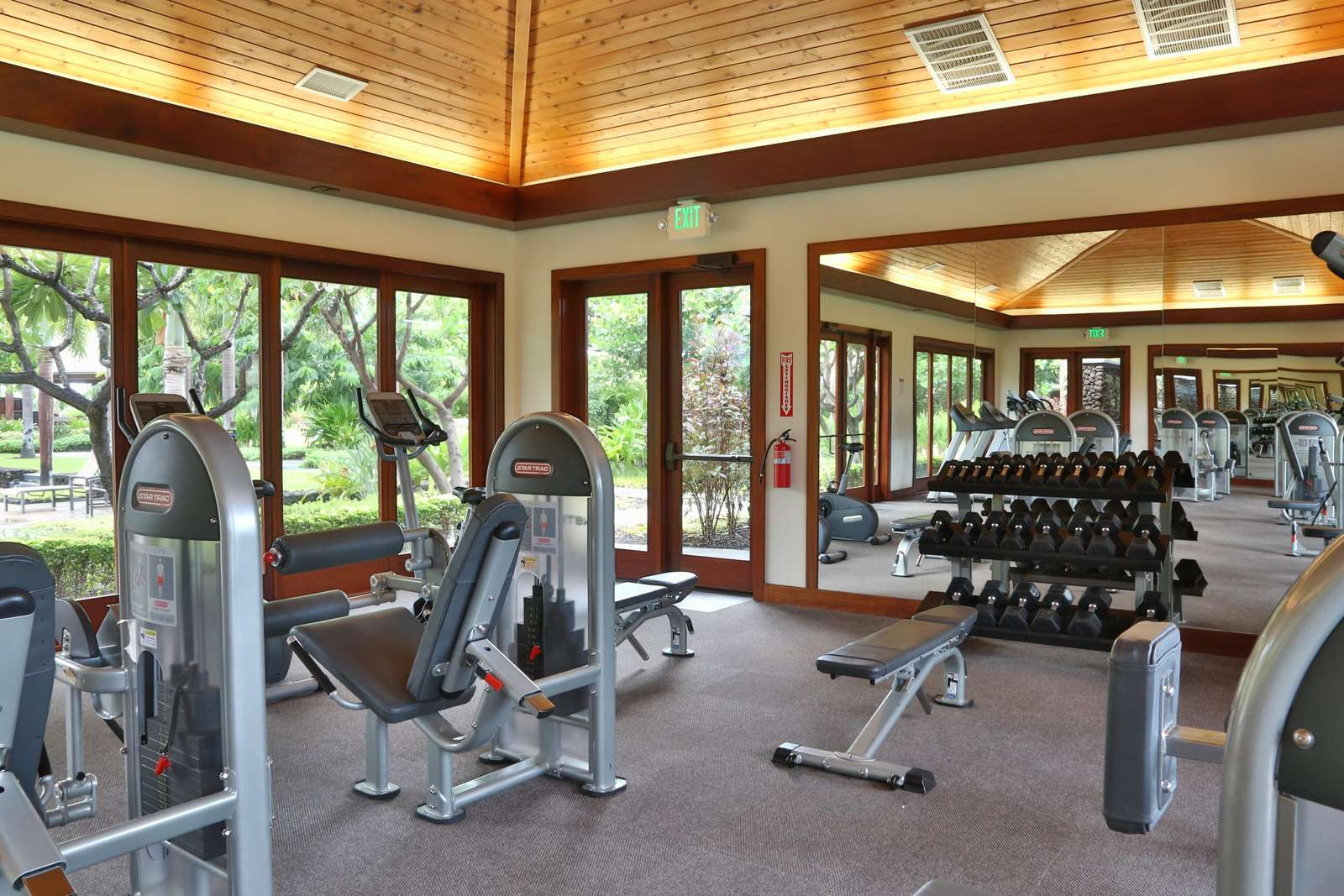 Community gym includes machines and free weights