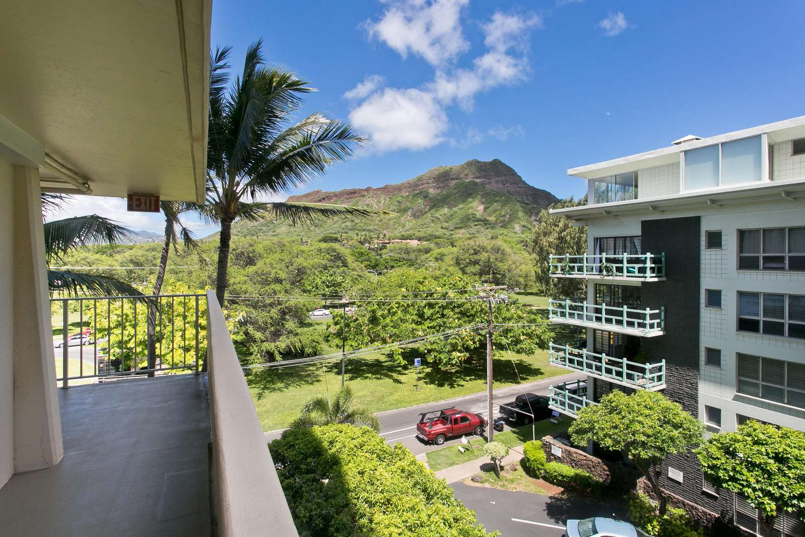 View from your window and front door of the suite. Diamond Head Crater