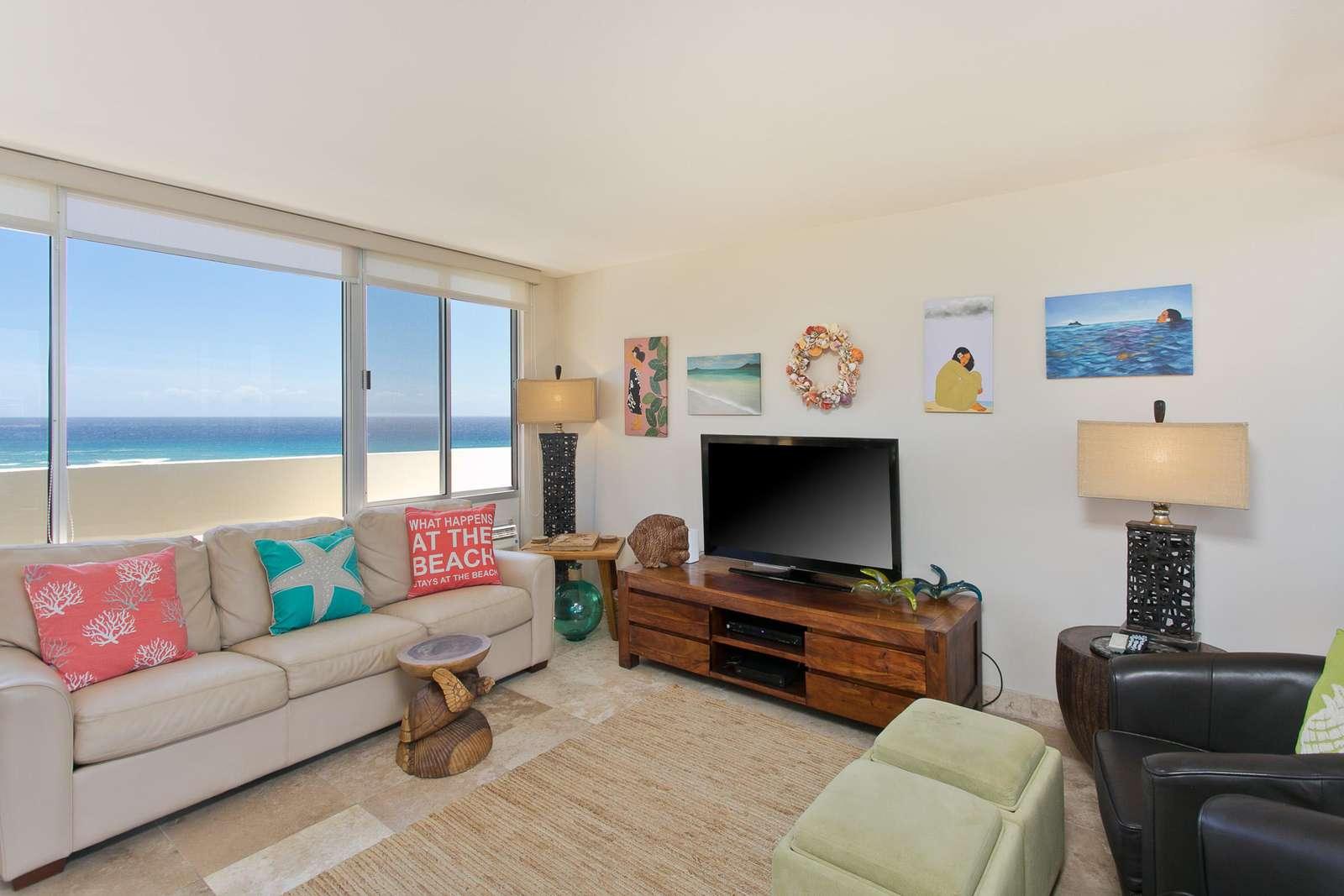 Comfortable ocean themed furnishings
