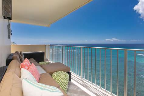 Private Lanai with gardens and Pacific ocean below