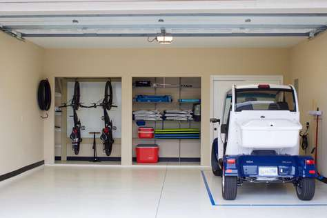 Garage with GEM car, bikes and beach gear