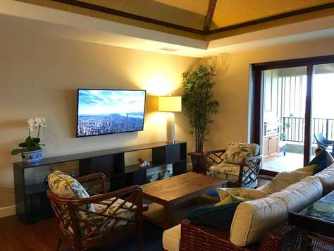 """Living Room with wall mounted 60"""" 4K TV"""