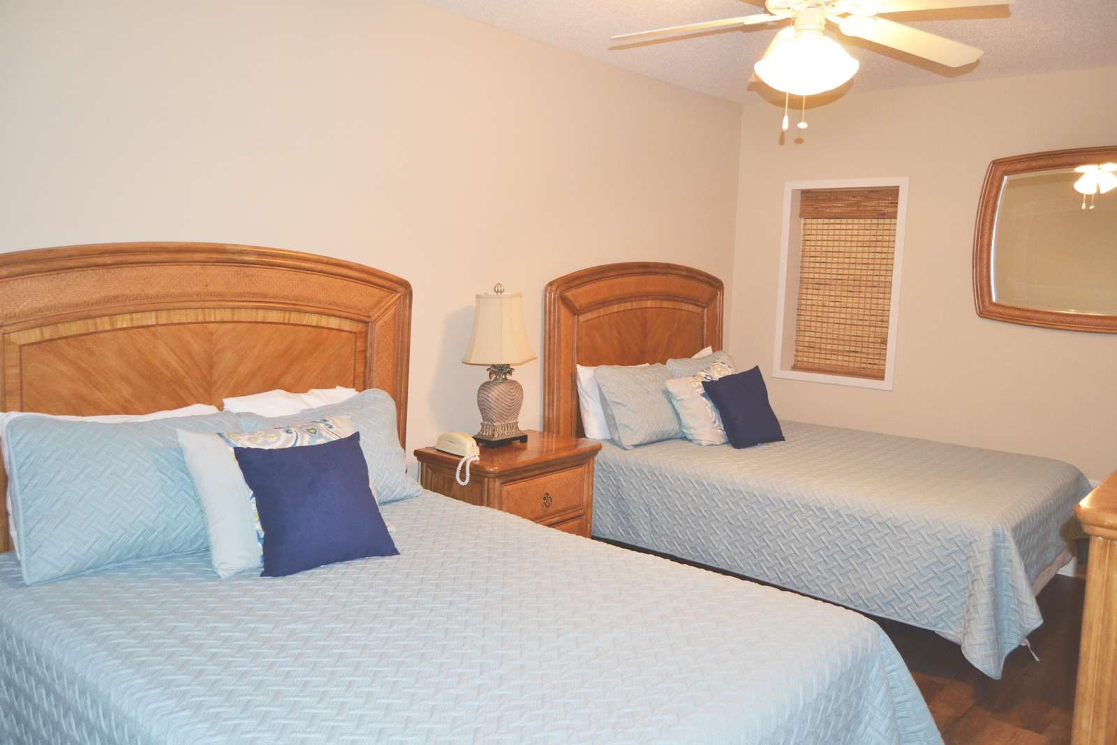 Guest bedroom, 2 queens, new coverlets and flooring