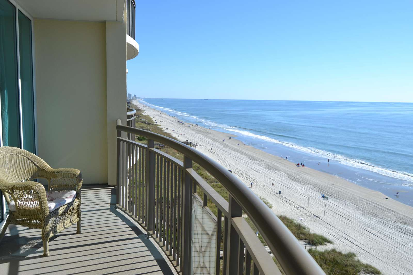 Sweeping oceanfront view from the oversized balcony