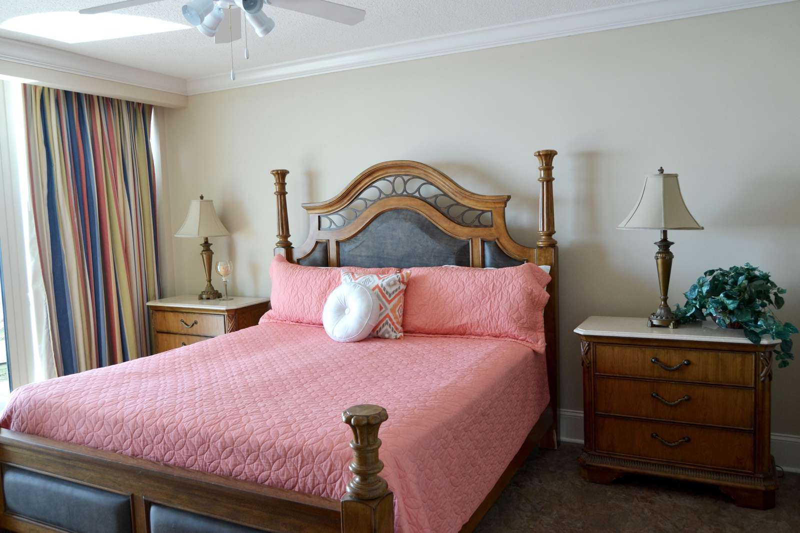 Master with private bath, new coverlet and flat screen