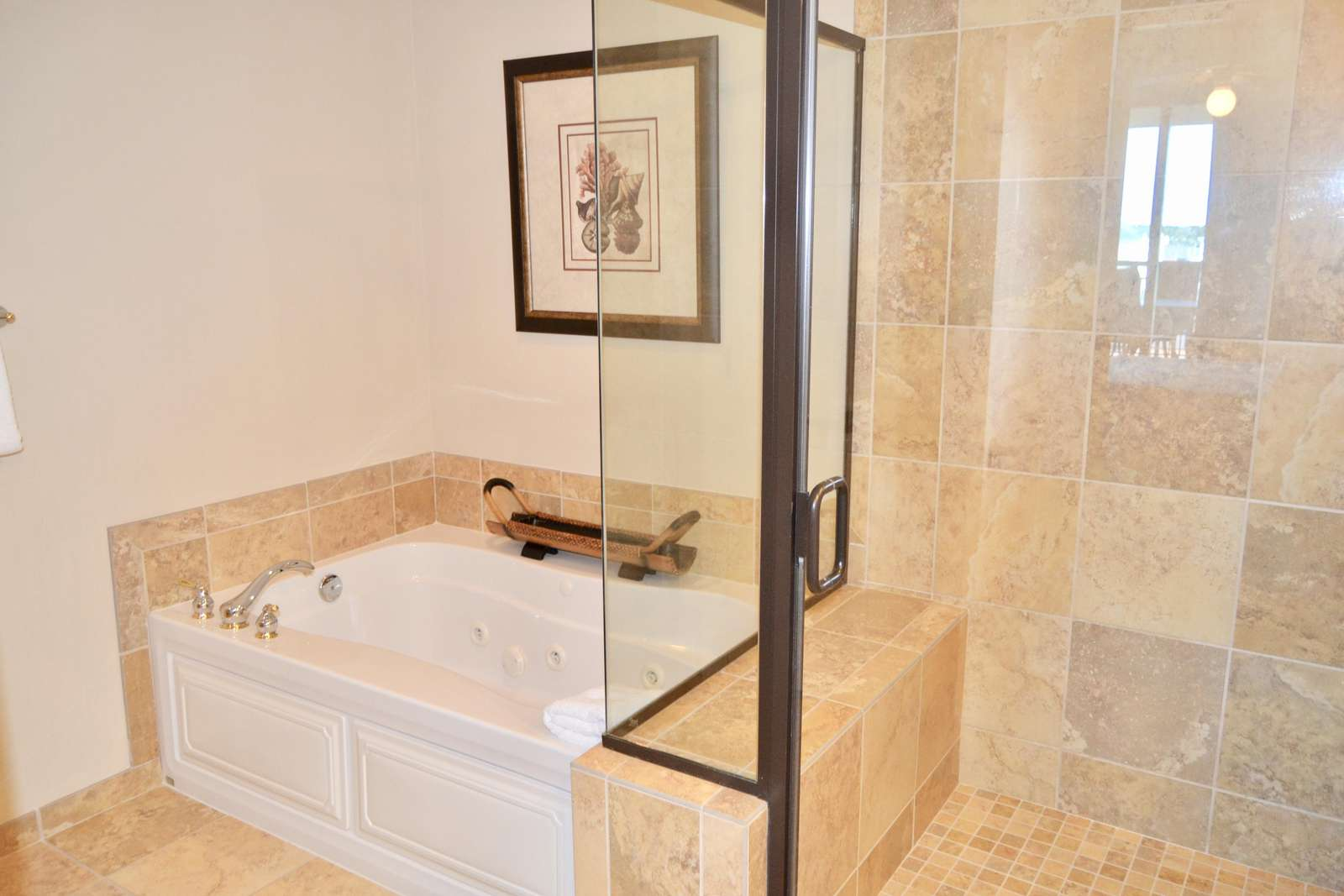 Huge walk in shower, jetted tub