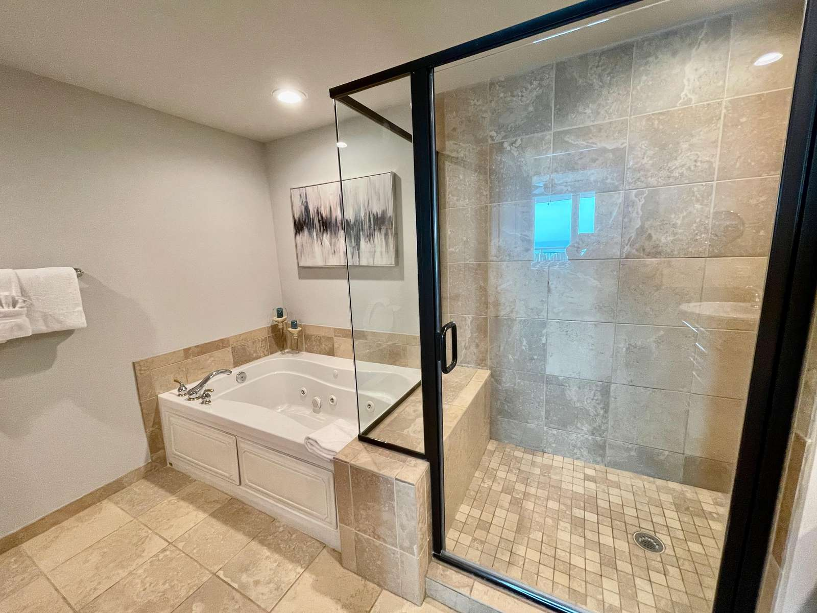Stall shower, ceramic, jetted tub
