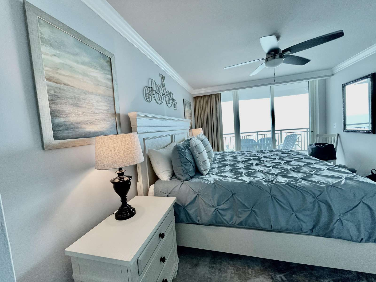 Master with oceanfront views and balcony access