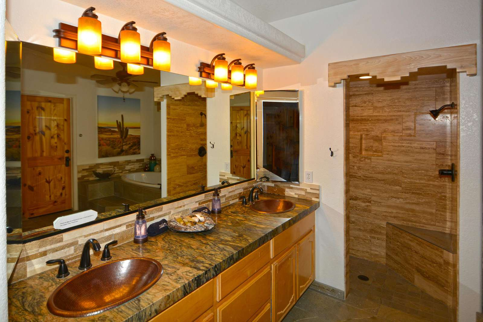 Leather granite and copper sinks!