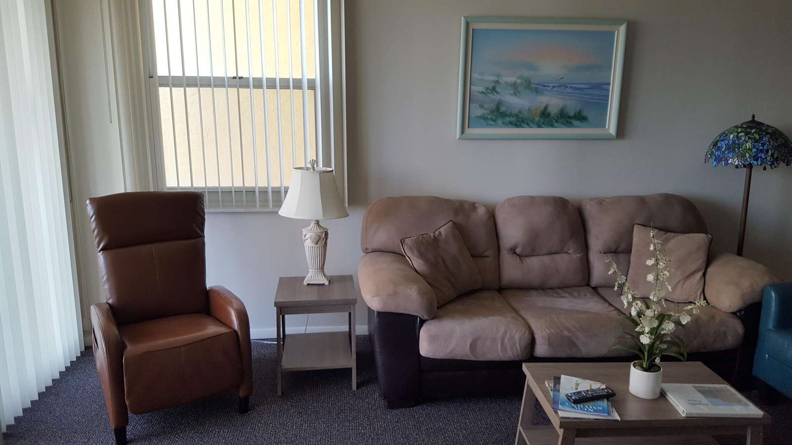One recliner in living room