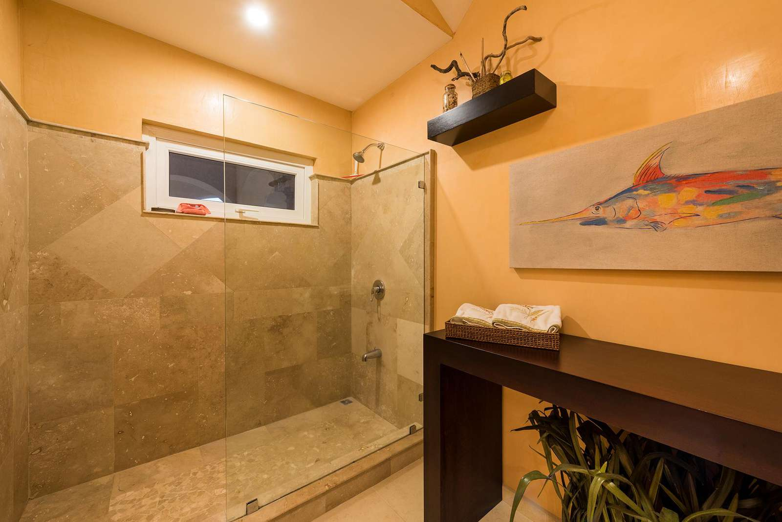 Guest bathroom with spacious walk in shower