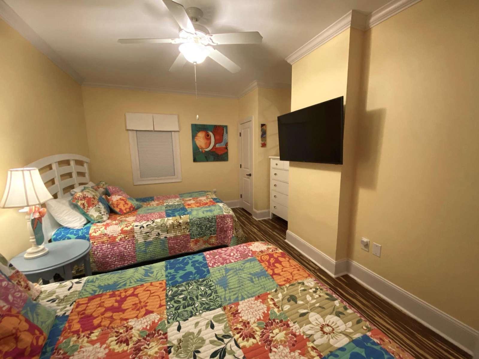 Guest bedroom, custom flooring, two queen beds