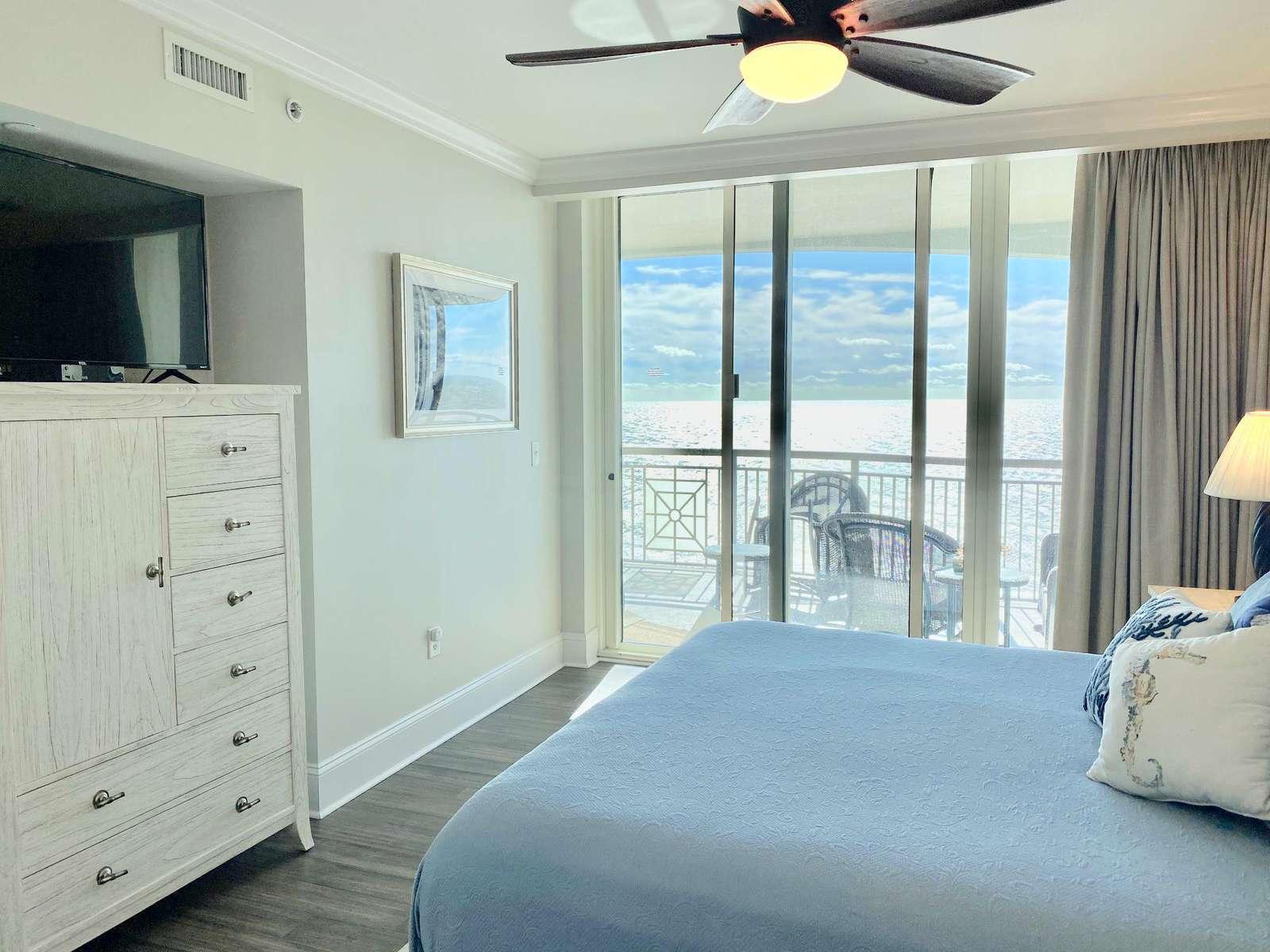 Master bedroom, custom flooring, flat screen