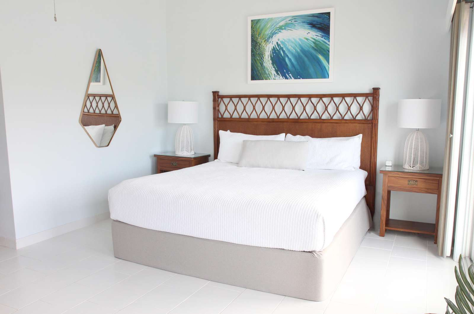 King bed in Pool Level Casita Apartment