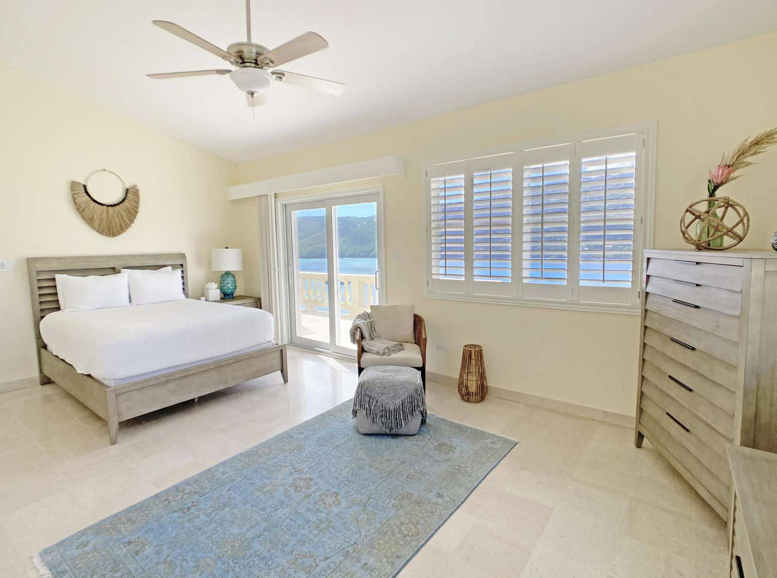 Queen Bed and Direct Access to Upper Terrace in Magens Guest Room