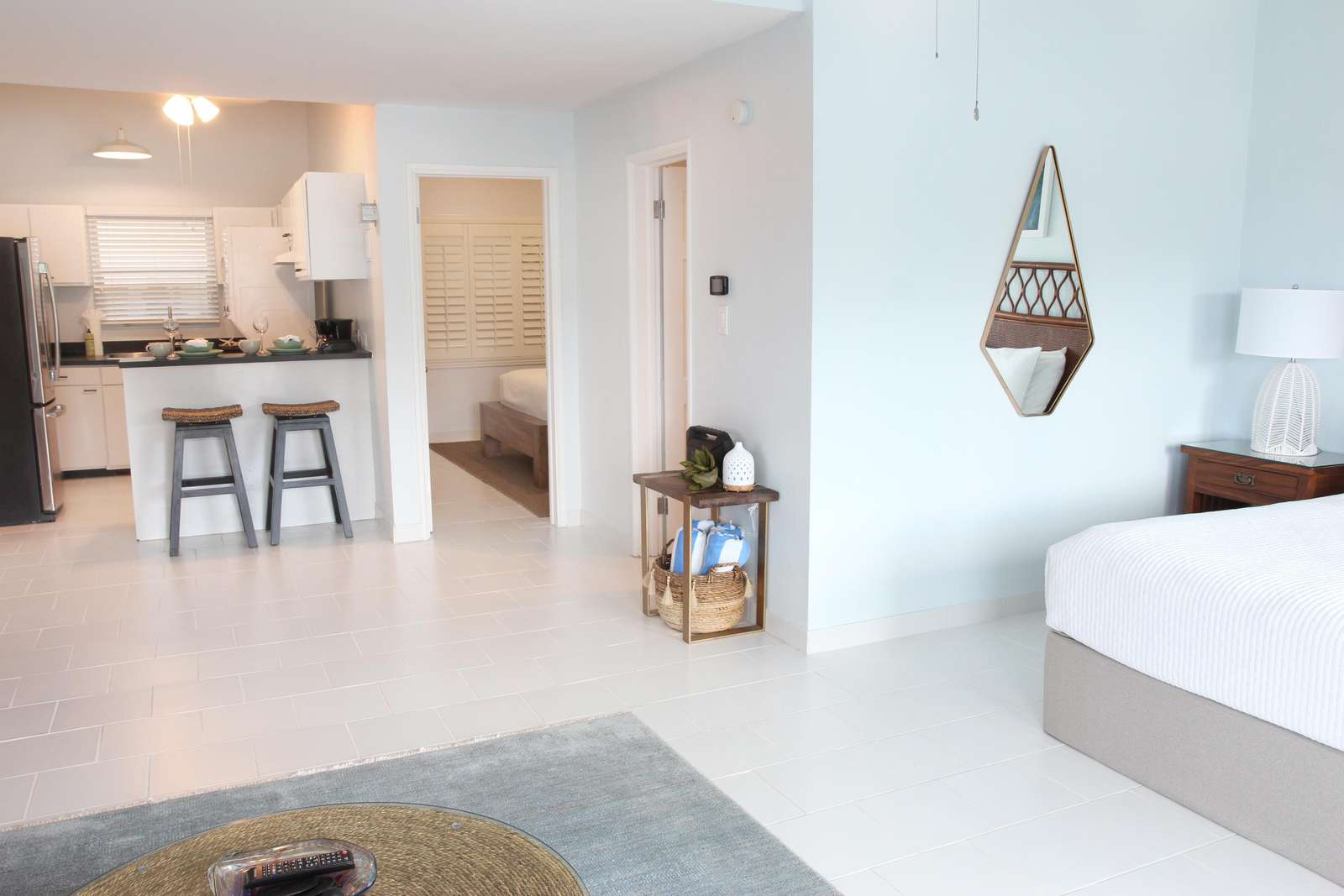 Kitchenette in the Pool Level Casita Apartment along with a private bedroom and shared bath