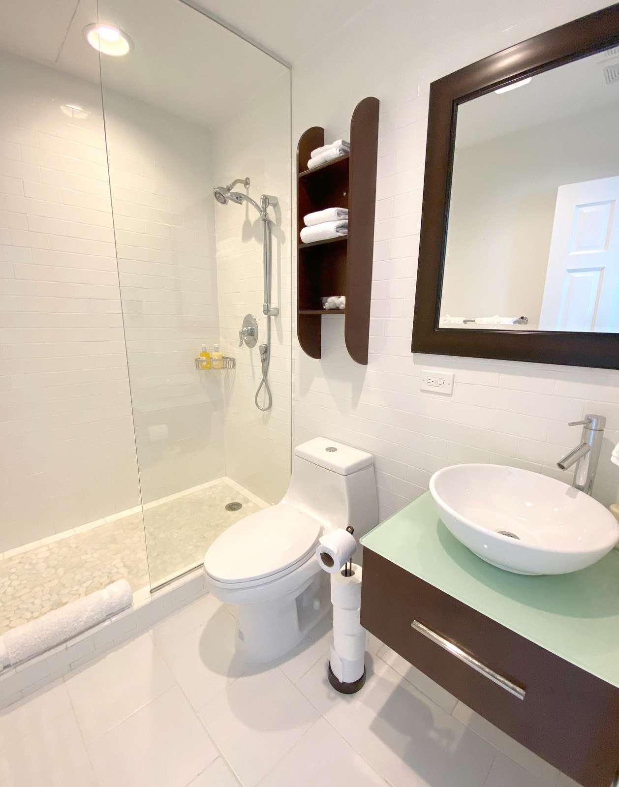 Bath in Pool Level Casita Apartment