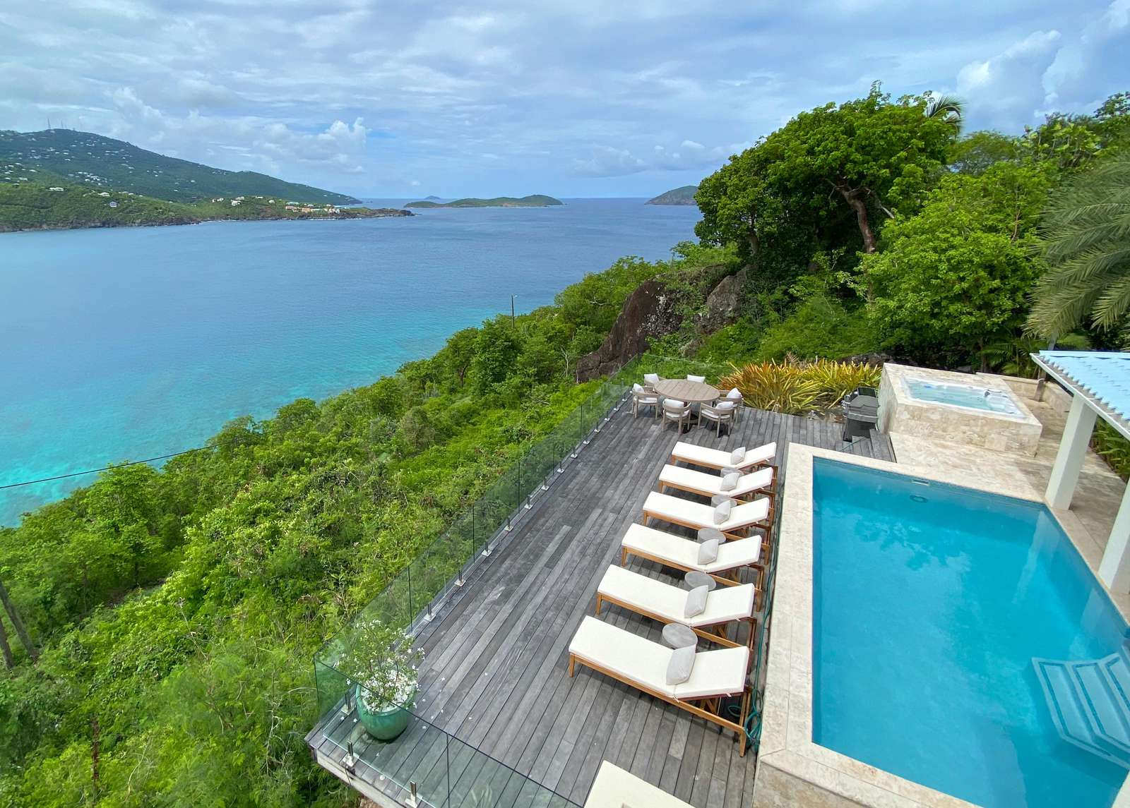 Stunning Views from the pool deck of Magens Bay and Inner & Outer Brass