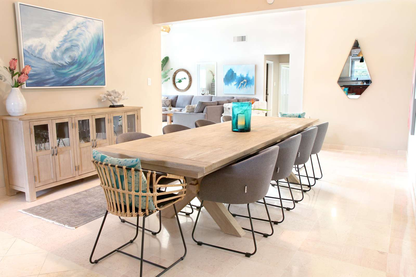 A dining table that seats ten
