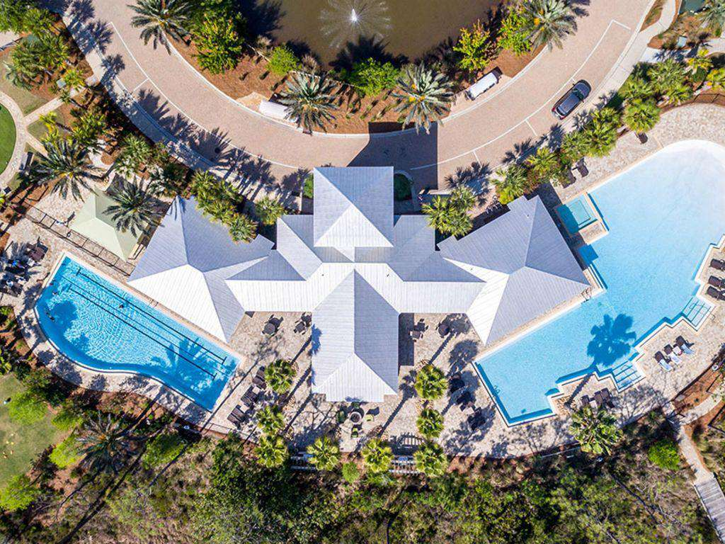 aerial of the Gathering Place/pools