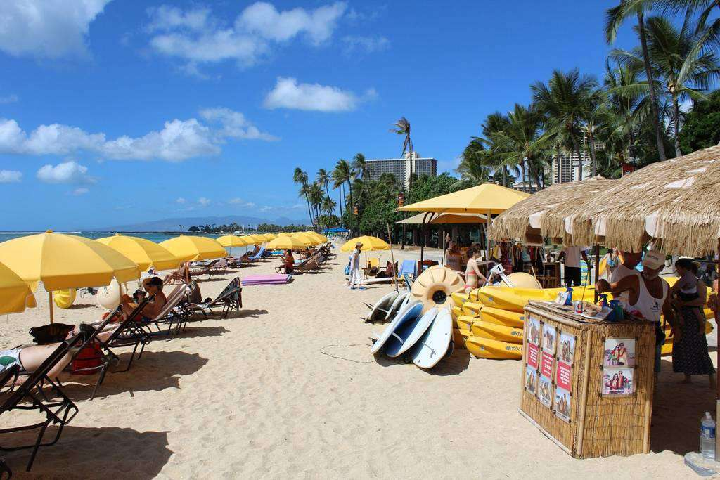 Too much sun, umbrella rental stations are close at hand.