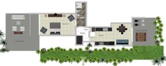 Floor plan shows roomy suite with full kitchen. thumb
