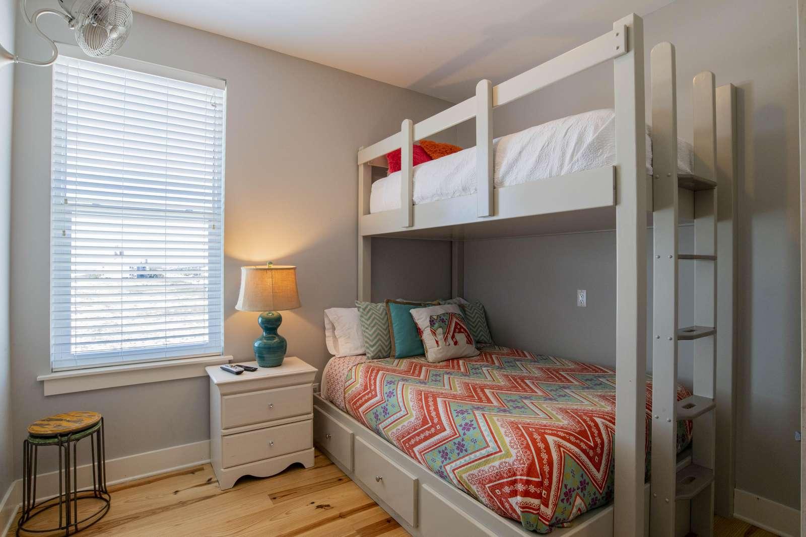 Twin XL over Full Bed. (Sleeps 3)