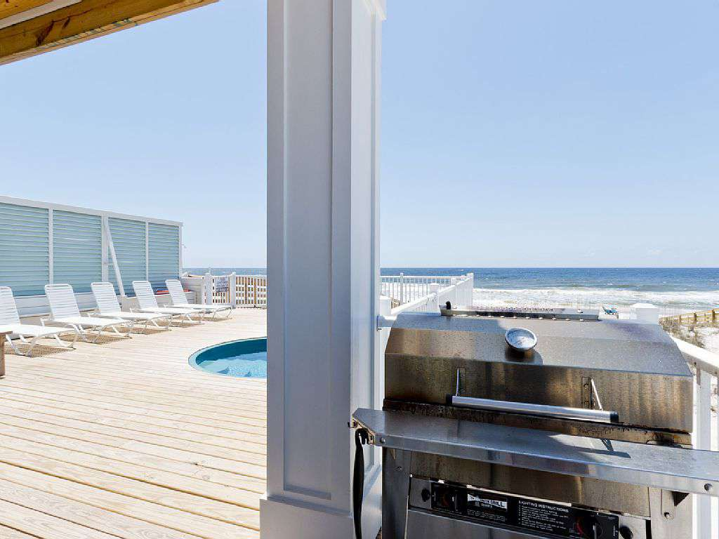 Stainless Steel natural gas grill. No tanks to worry about refilling.