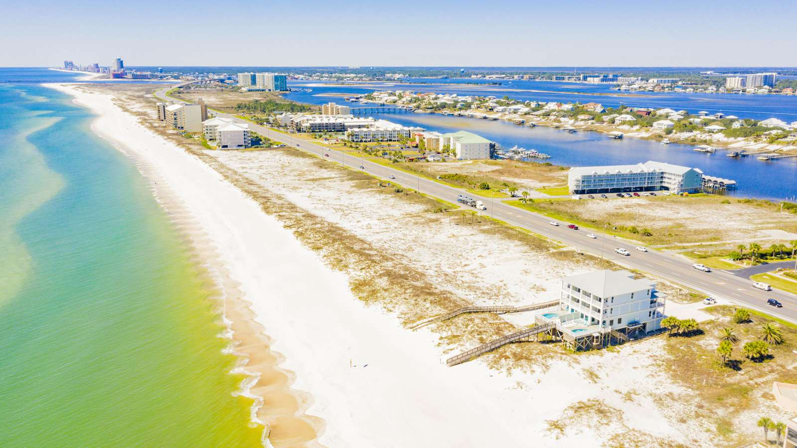 Drone Shot looking West. 1600 Linear Feet of Vacant beach to the west