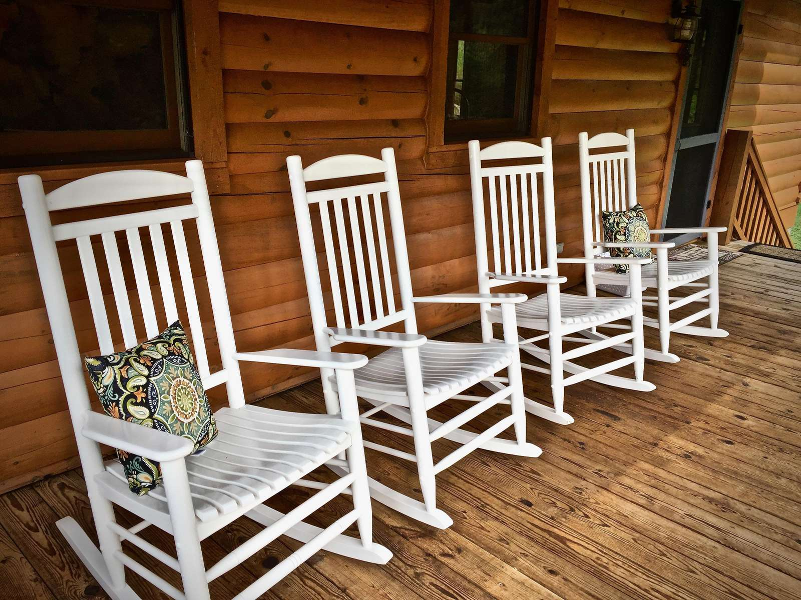 Old fashioned Rocking Chairs, and two Spacious Covered Decks to enjoy the outdoors rain or shine!