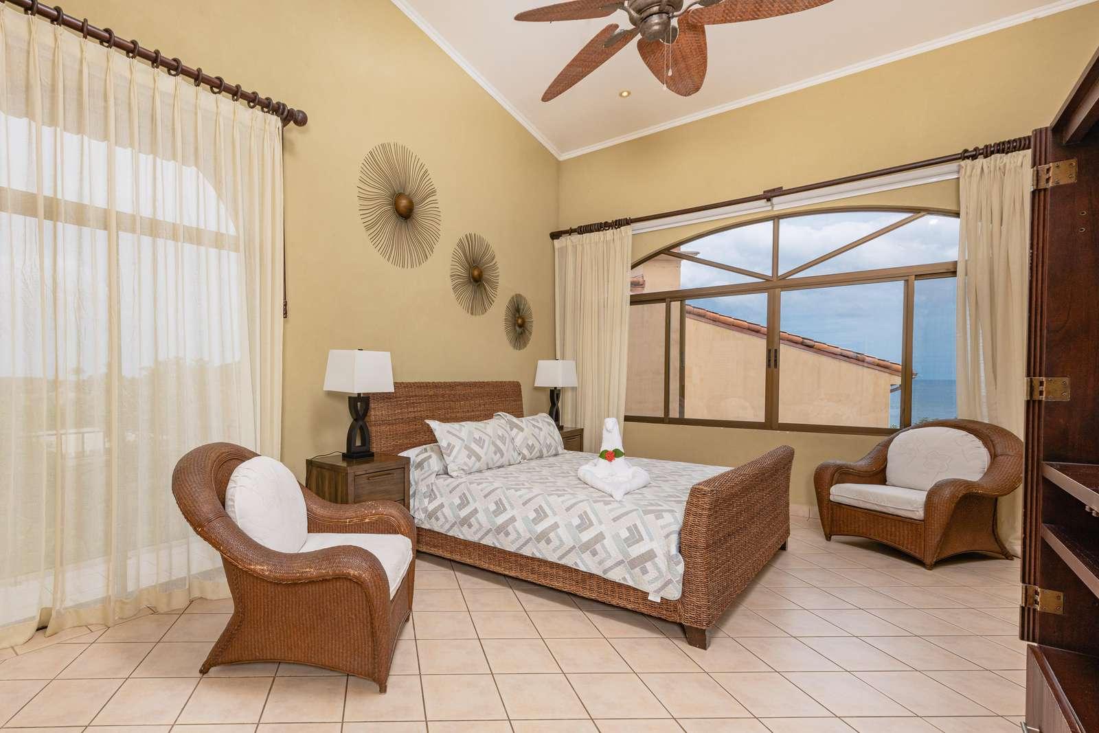 Master bedroom, King bed, pillow top mattress, Ocean Views, TV, Private bathroom
