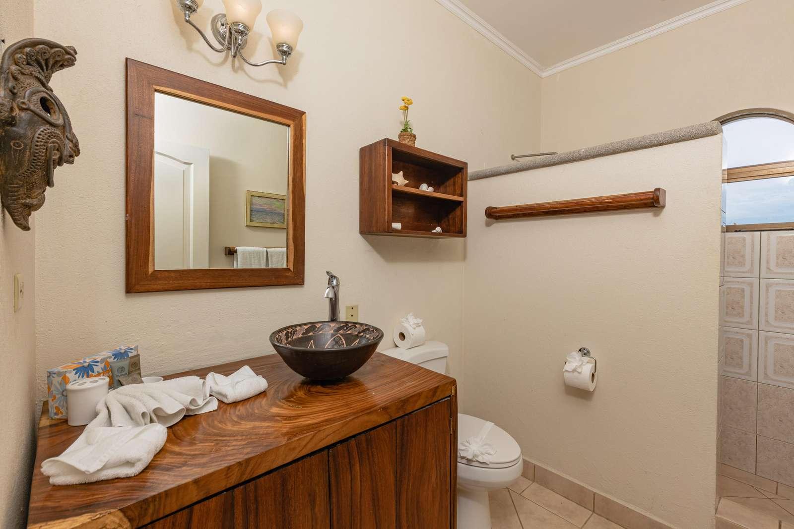 Master bathroom, Teak vanity, walk in shower