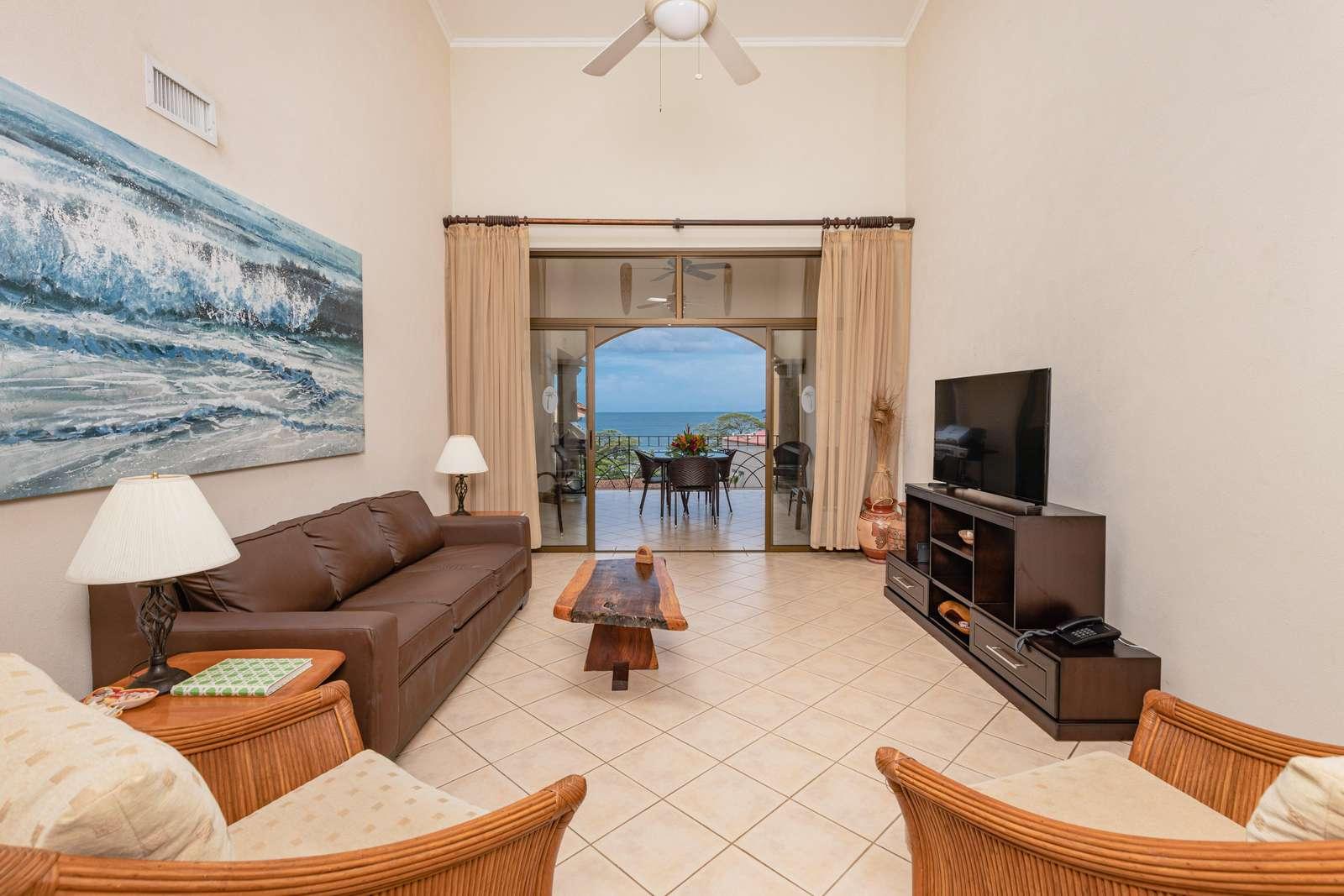 Spacious living area, sleeper sofa, Flat screen TV, vaulted ceilings