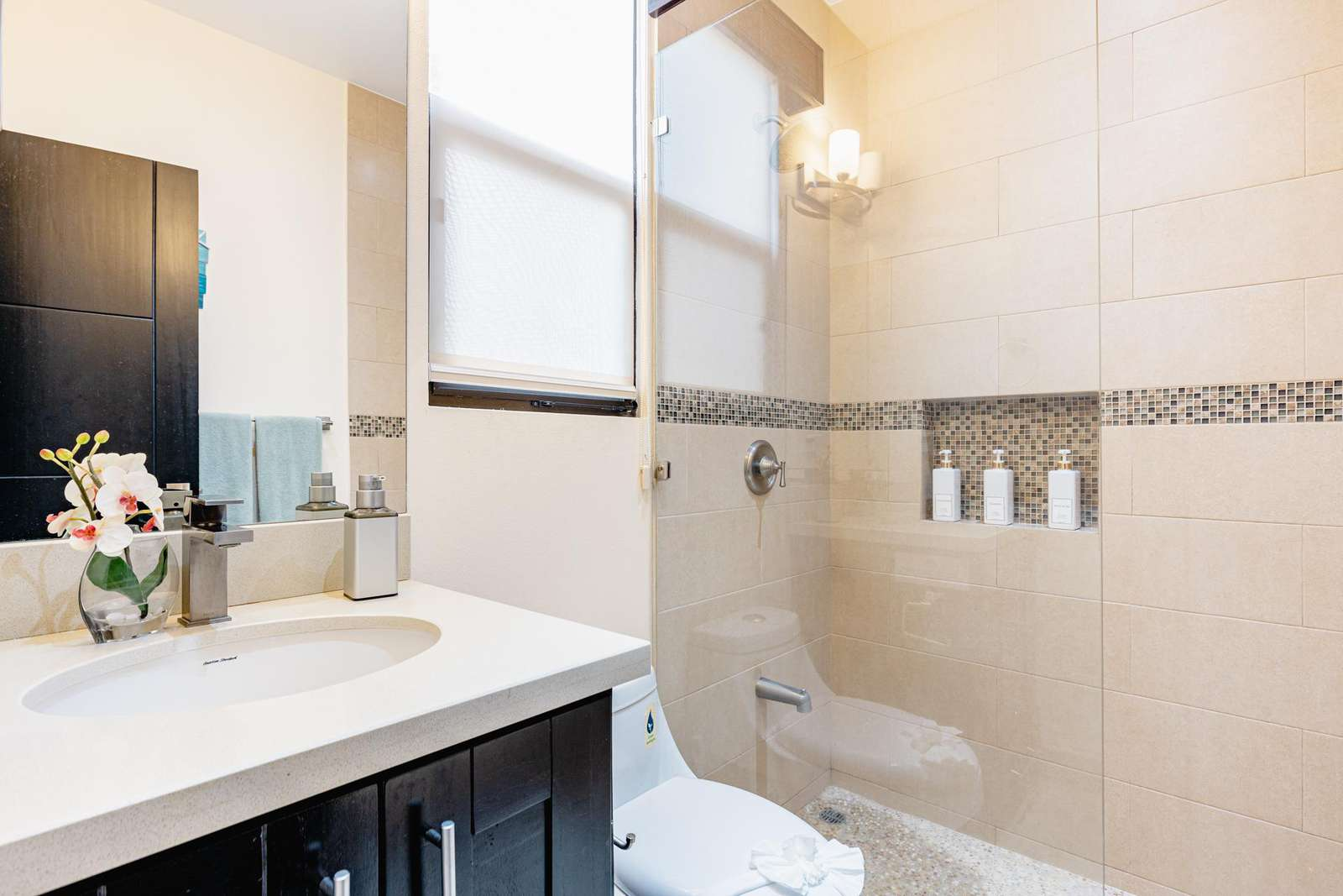 Guest bathroom, quartz countertops, walk in shower