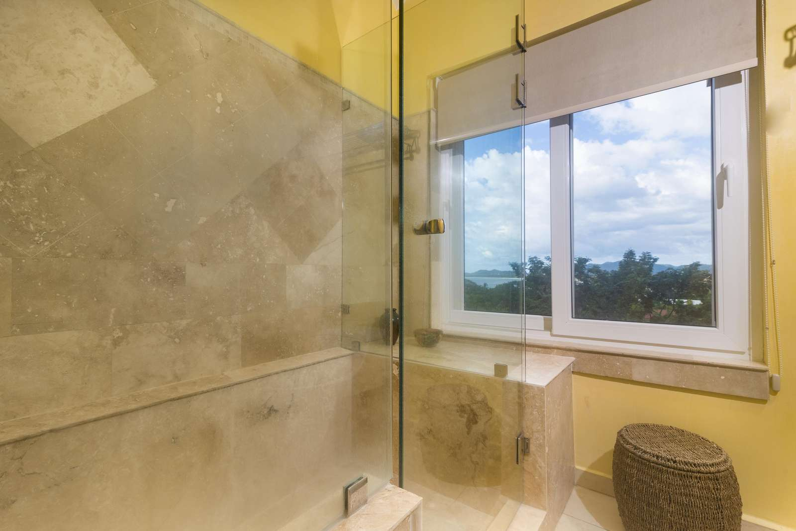 Ocean views from the master shower